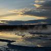 Sunset across Great Fountain Geyser, Firehole Lake Drive,