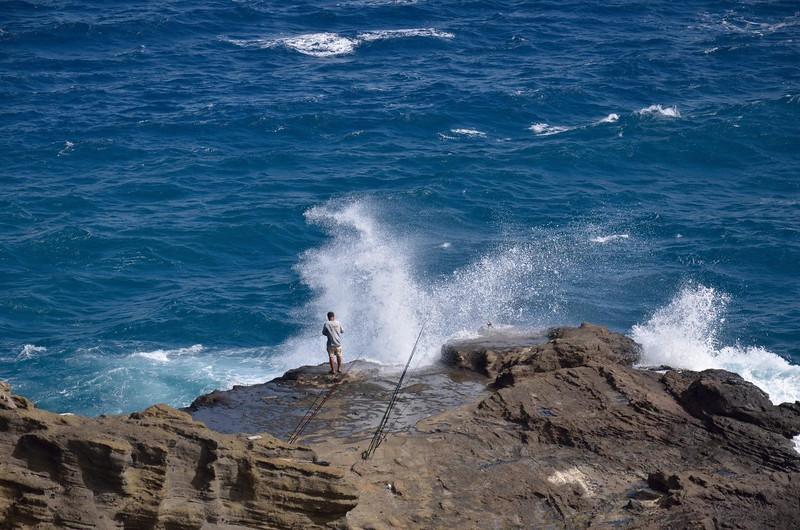Surf fishing near Lanai Lookout<br /> Honolulu