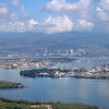 Battleship USS Missouri and Arizona Memorial pier visble to right of centre frame<br /> Pearl Harbour, Honolulu