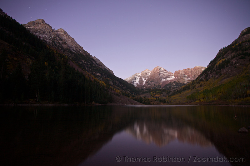 The Maroon Bells before sunrise near Aspen, Colorado.