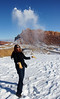 Karishma plays with snow, near Capitol Reef national park.