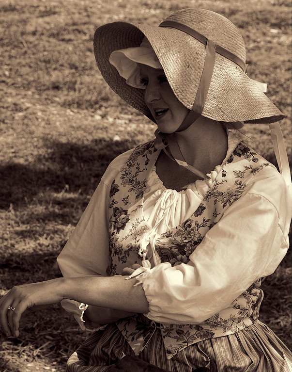 American Village Pensive Colonial Wife