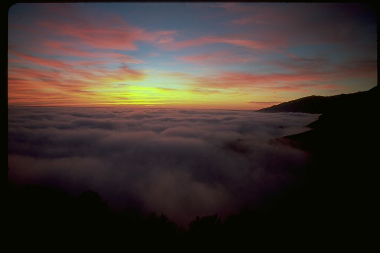 Sunset over the clouds in Big Sur, California
