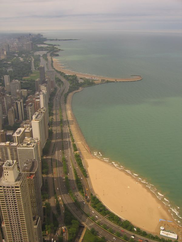 Beach stretch from John Hancock building Chicago, Illinois