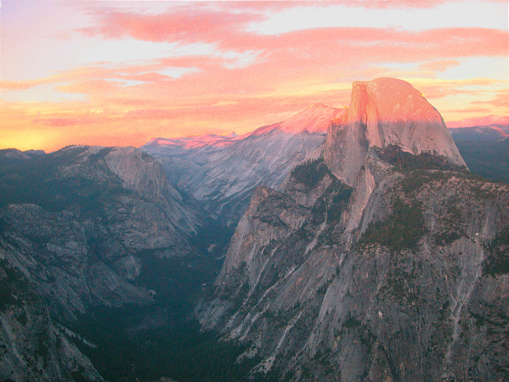 Half Dome at sunset from Glacier Point Yosemite, California