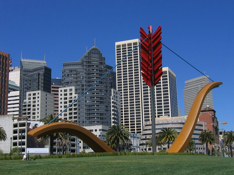 Bow and arrow sculpture in San Francisco, California