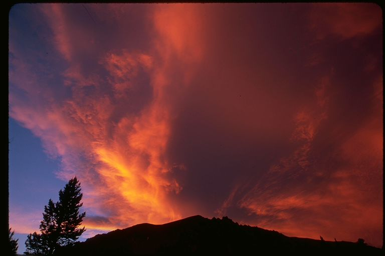 Sunset clouds in the Eastern Sierra Mountains, California