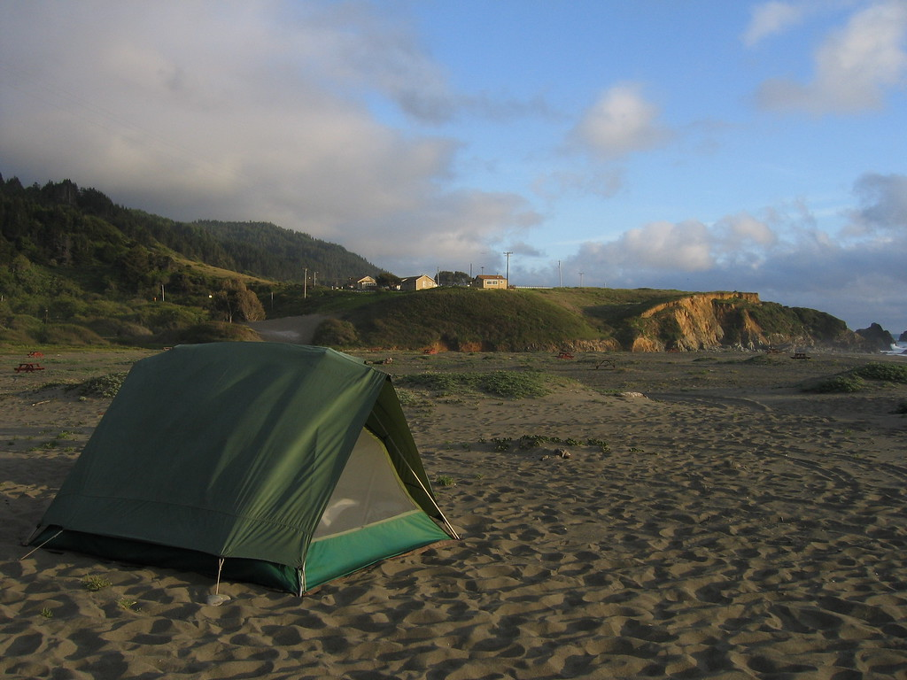 Camping on the beach in Northern California