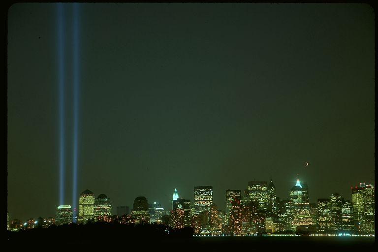New York City September 11th memorial lights