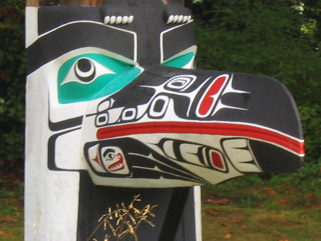 Totem Pole eagle beak, Vancouver, BC, Canada