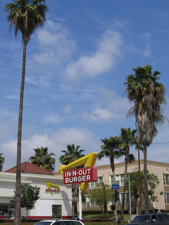 In and Out Burger in Hollywood, California