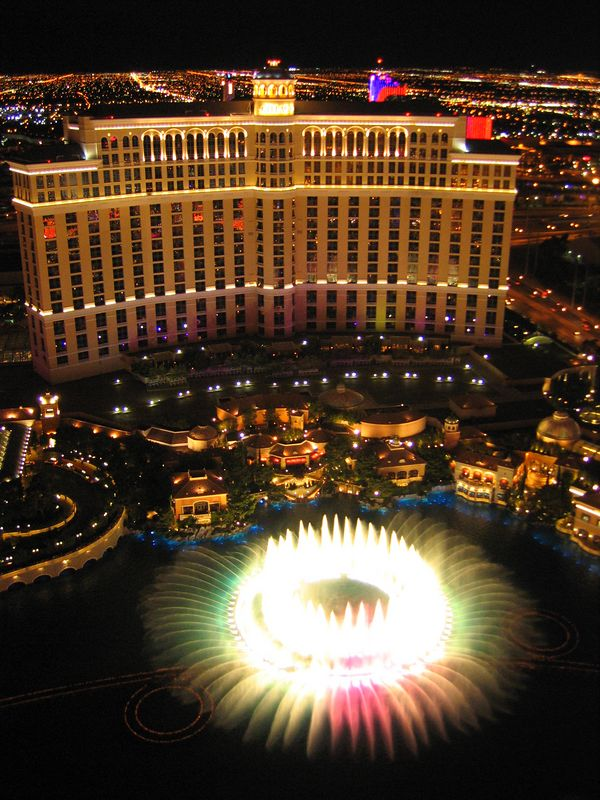Bellagio water show from Eiffel Tower LAs Vegas, Nevada
