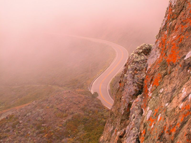 Highway One curve in Big Sur fog, California