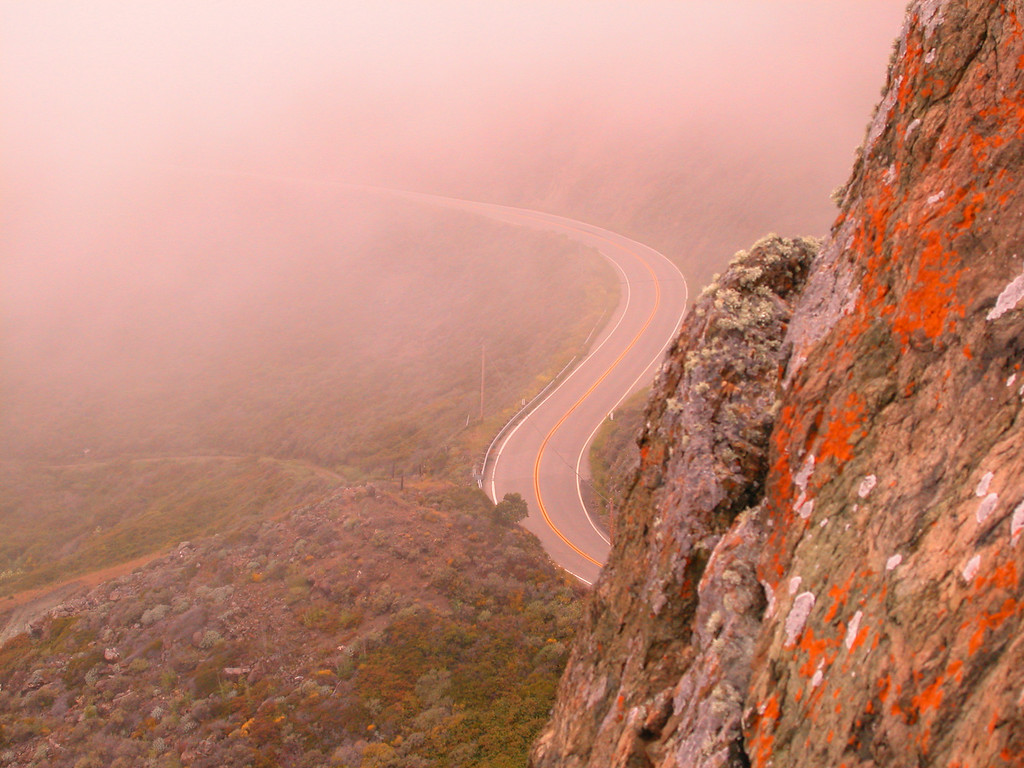 Highway One curve in Big Sur fog, California