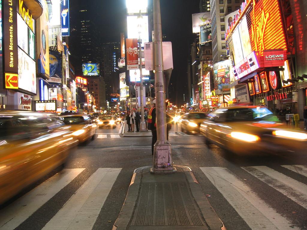 Times Square street split, New York City