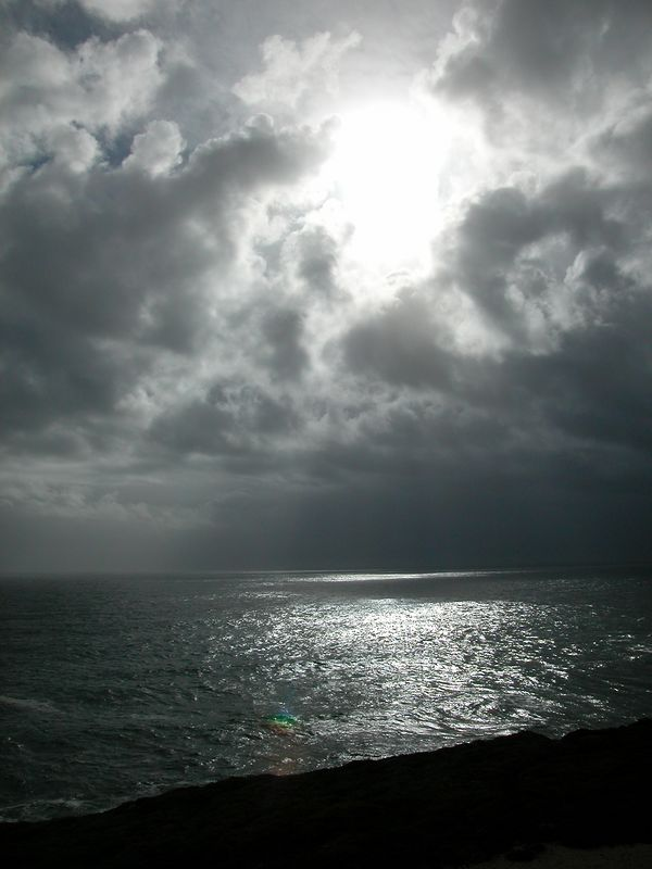 God light over the Pacific ocean, Northern California