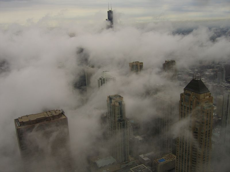 Cloud rise from John Hancock building Chicago, Illinois