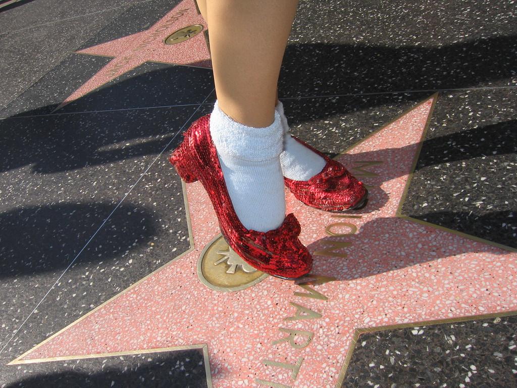 Dorothy's slipper on stars in Hollywood, California