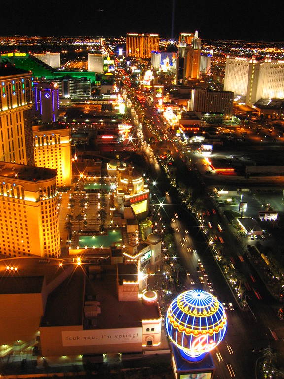 Las Vegas strip south from Eiffel Tower, Nevada