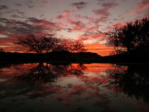 Pool reflection at sunrise, Baja Mexico