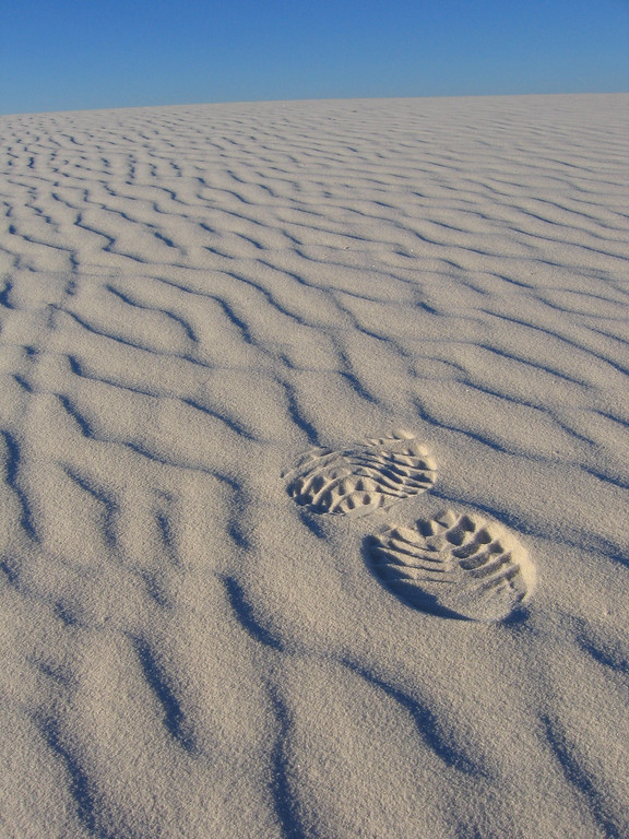 Foot print in White Sands, New Mexico