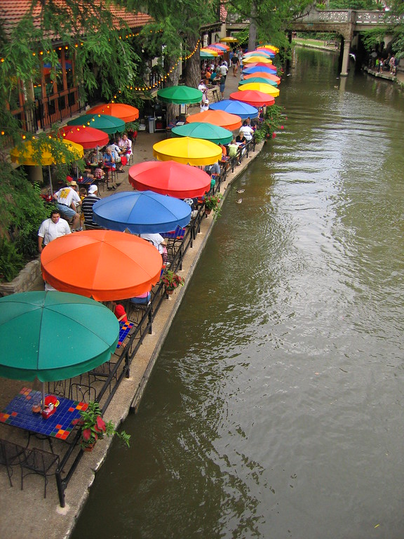 Riverwalk umbrellas in San Antonio, Texas