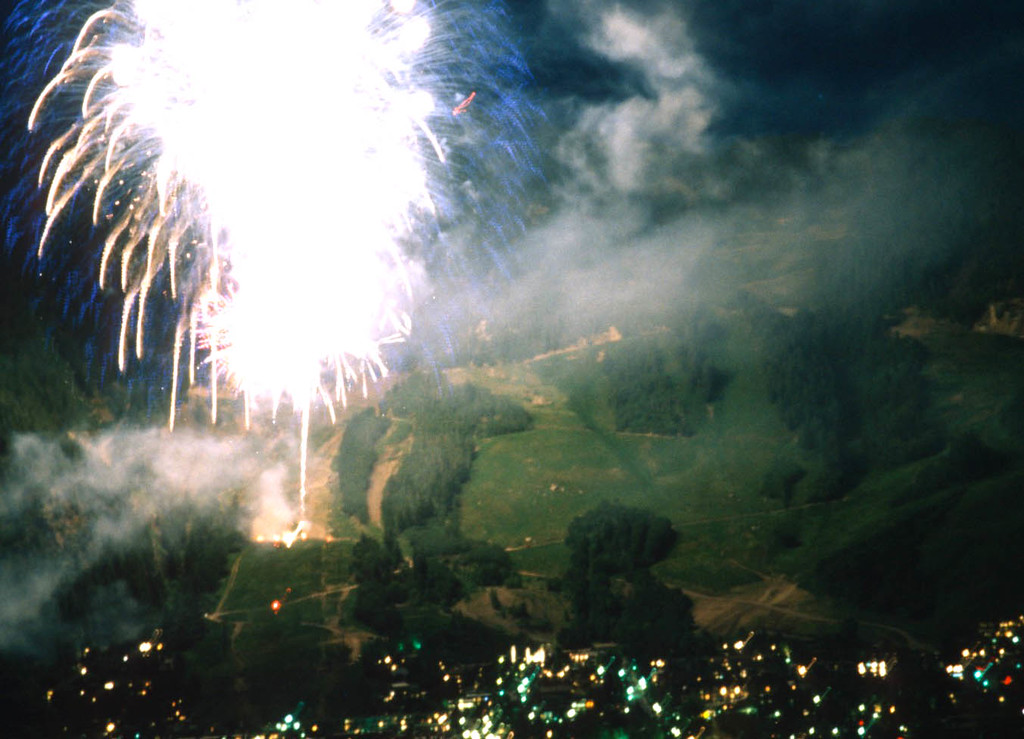 Fourth of July Fireworks over Ajax Mountain, Aspen, Colorado