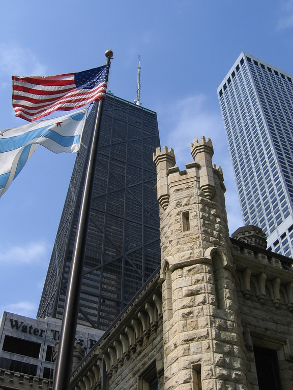 American flag and John Hancock building Chicago, Illinois