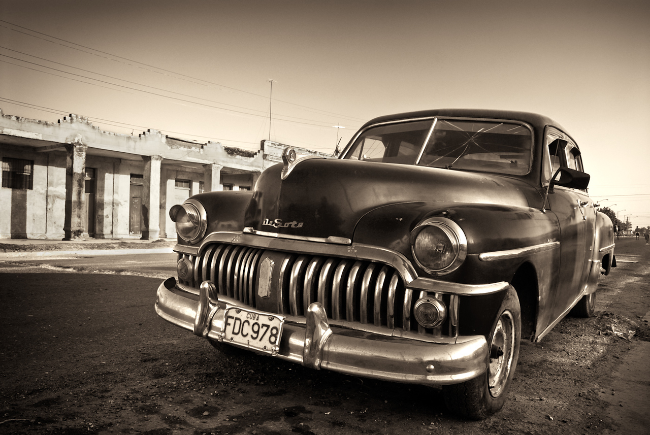 Classic old american car on the streets in Cuba