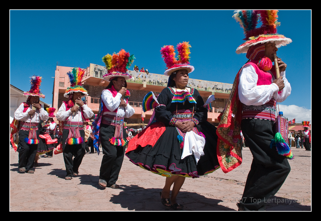 Dancing and music at the Fiesta de Santiago on Taquile island