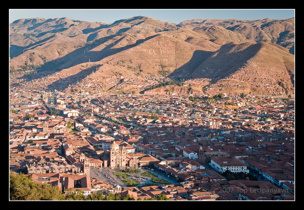 Birdseye view of the Plaza de Armas in Cuzco from Sacsaywaman