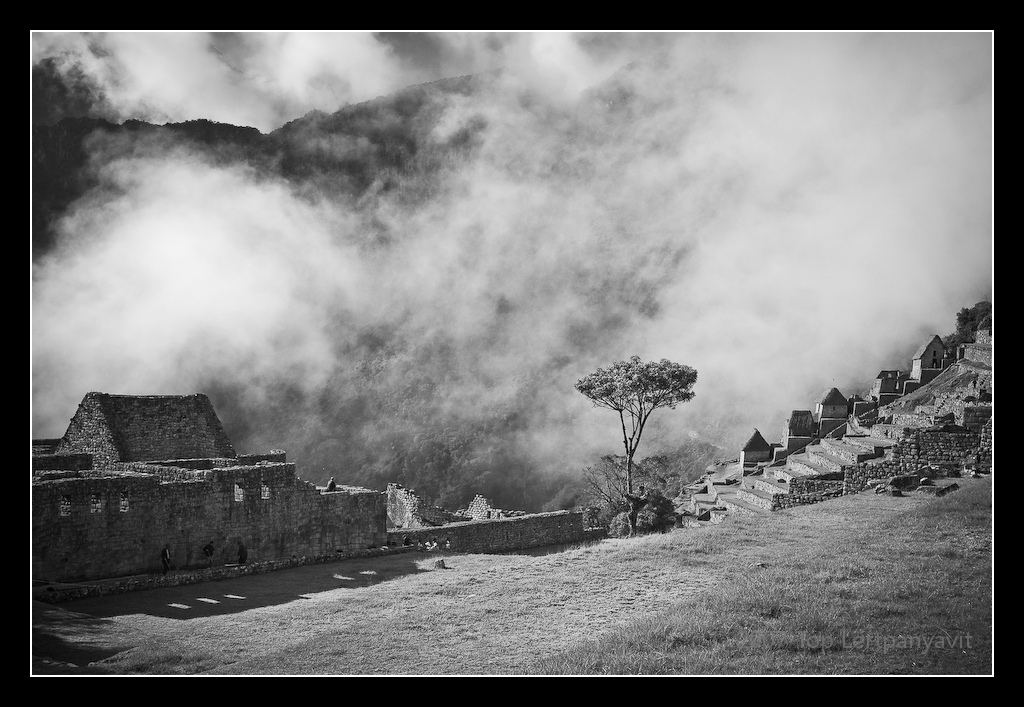 Fog descends on the Machu Picchu landscape