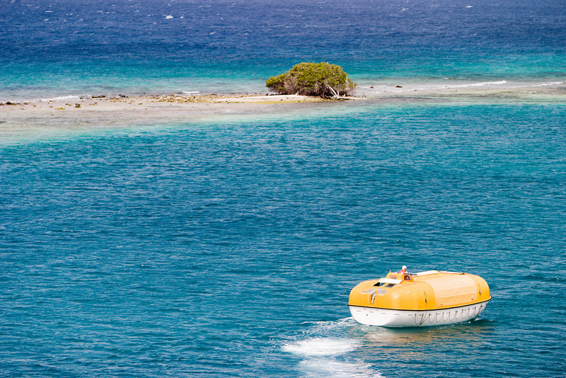 A cruiseship lifeboat, on training exercises during a cruise, approaches a desert island with just one scrub tree on it. The island, on a coral reef, is surrounded by the blue ocean.