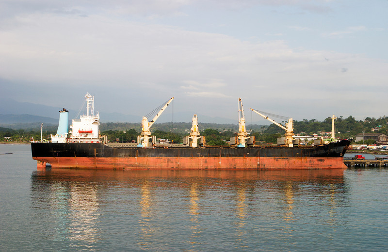 A cargo freighter unloading at a dock in Costa Rica. The four cranes on the ship lift the cargo off.