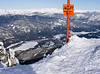 A scenic view of the Whistler Blackcomb Village and the golf course in winter from the summit of Whistler Mountain, 5,000 feet above.