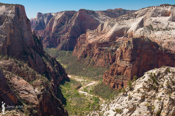 Angel's Landing from the Observation Point trail in Zion National Park.