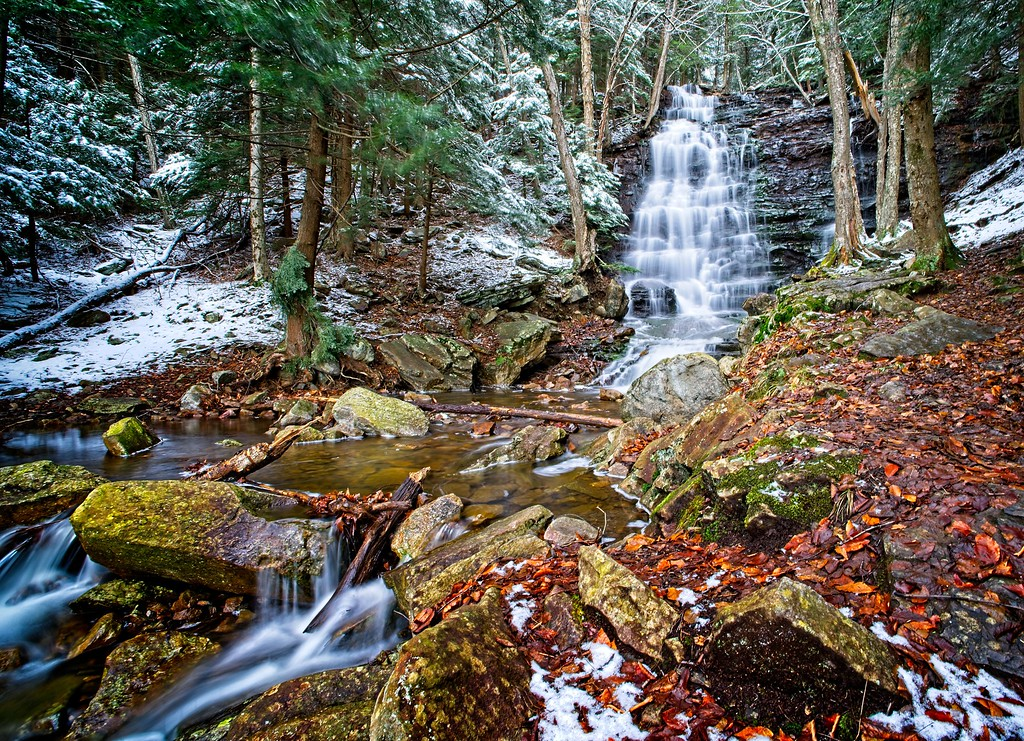 Bear Creek Falls and Snow - Click to purchase this image!