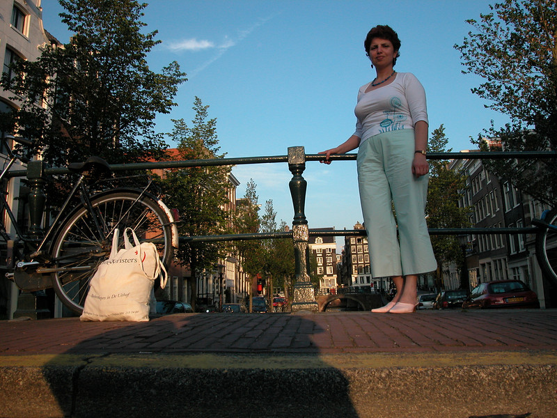 My lady, enjoying Amsterdam..