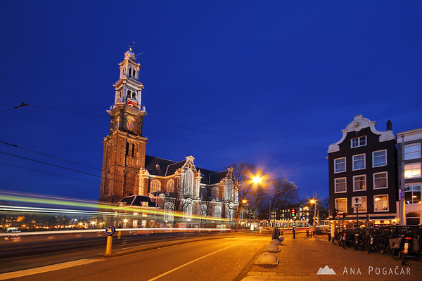 West Church (Westerkerk) in Amsterdam at the blue hour