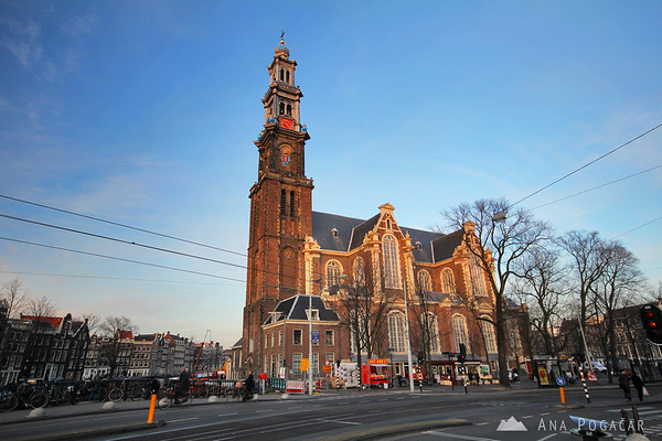 West Church (Westerkerk) in Amsterdam at sunset