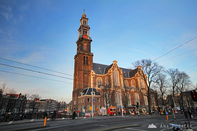 West Church (Westerkerk) in Amsterdam at sunset