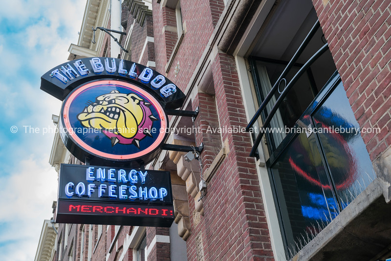 Sign for famous coffeeshop in the city, The Bulldog. Popular place especially for young tourists.