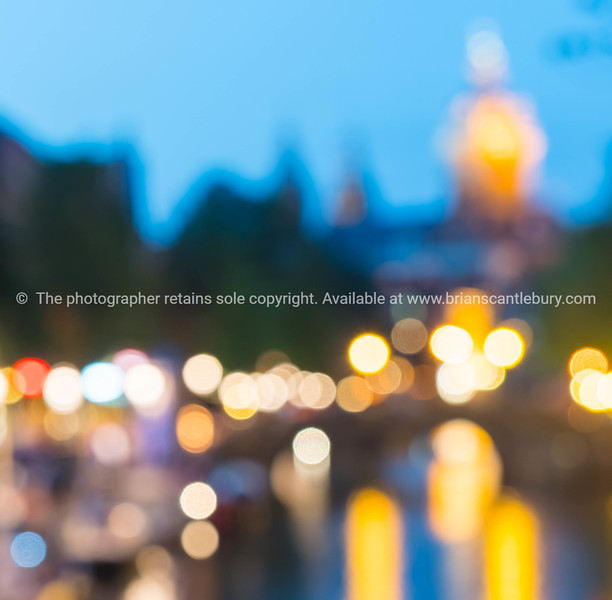 Amsterdam urban night and travel abstract backgrounds