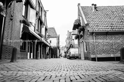 Quaint mixed use street in Dutch city