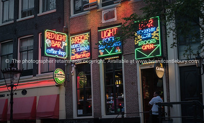Amsterdam, Holland, street scene in red light district; Model or property release; NO, for personal or editorial use only please.