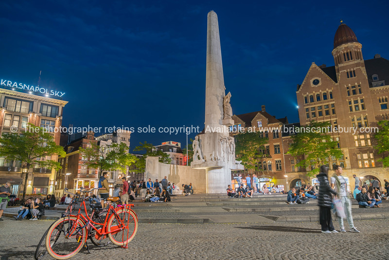 White National Monument stands out against dark night sky in Dam Square Model or property release; NO, for personal or editorial use only please.