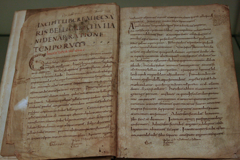 "Manuscript of Julius Caesar's account of the Gallic Wars.  Should read ""Omnia Gallia divisa est in partes tres,"" as I remember from high school Latin.   Seems to be an edited version ..."