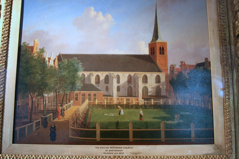 Painting of the Beguinhof viewed from the other side, facing the 1607 English Reformed Church on the grounds.