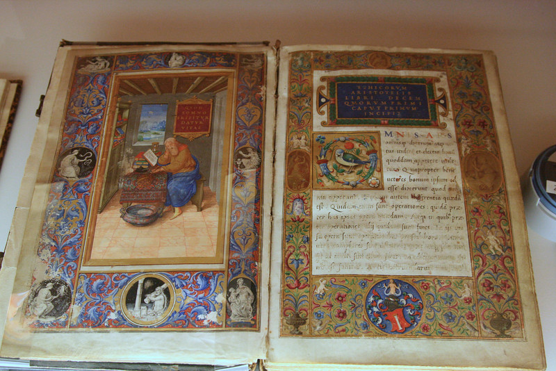 15th century manuscript of Aristotle's Ethics in a special exhibit in the Pearson Archeological Museum in Amsterdam.