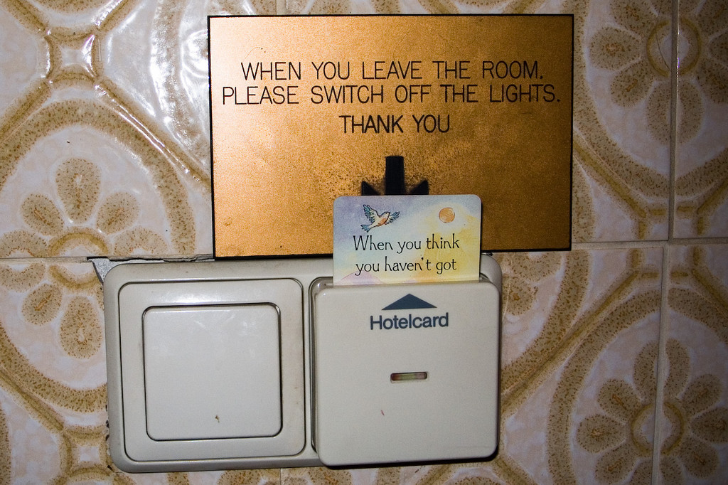 You need to stick a card into this slot for the lights to work. Our hotelcard wasn't working so I used this card my mother gave me. See mom? It gave us light. :)